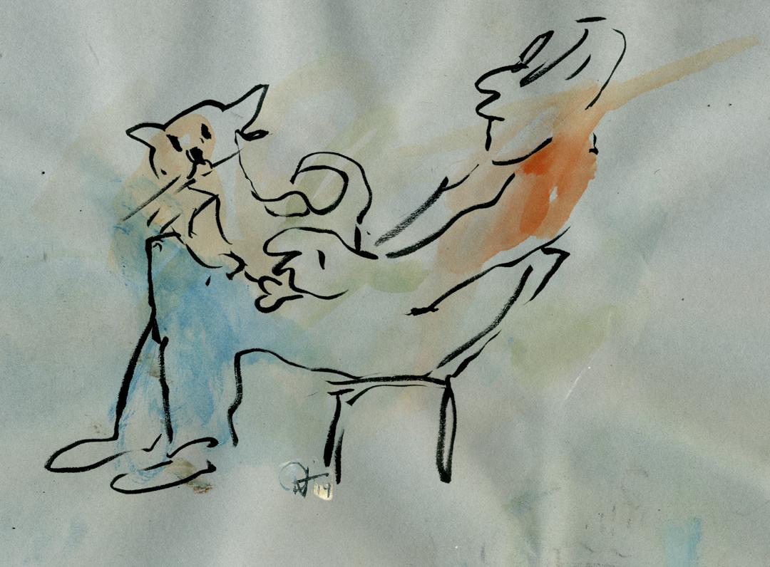 M. Laven (Kitschconsoul, Destillat, Gabberment und vieles mehr) und Kater Atari, skizziert im Juni 2014 von Herrn Jörg Ritter im Aminator Sanctuary